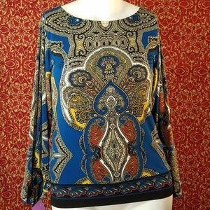 ALFANI teal blouse M
